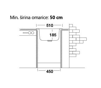 Okroglo inox kuhinjsko pomivalno korito, fi 51 cm, PLAN439