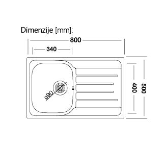 copy of Enojno kuhinjsko inox pomivalno korito, 41x40 cm, PLAN127