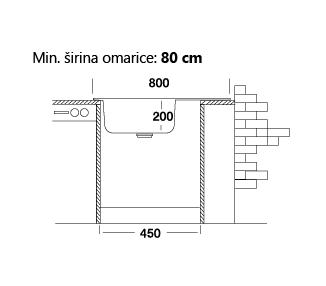 Dvojno kuhinjsko pomivalno korito z odcejevalnikom, 50 x 80 cm, PLAN549