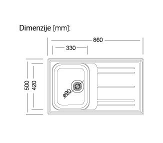 Črno inox kuhinjsko pomivalno korito z odcejalnikom, 50 x 86 cm, PLAN600