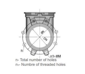 Knife gate valve with handwheel rising stem stainless steel body - wafer type PN10