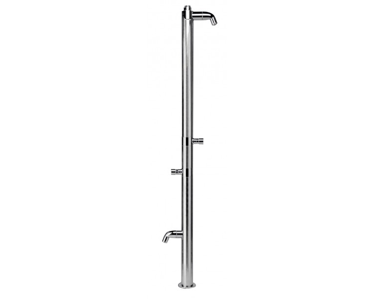 Outdoor stainless steel shower with foot shower, with time button